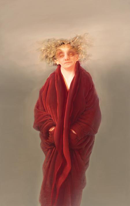 Anne Harris, Portrait (Red Robe), 2008-2012, oil on linen, 52 x 33 inches (court