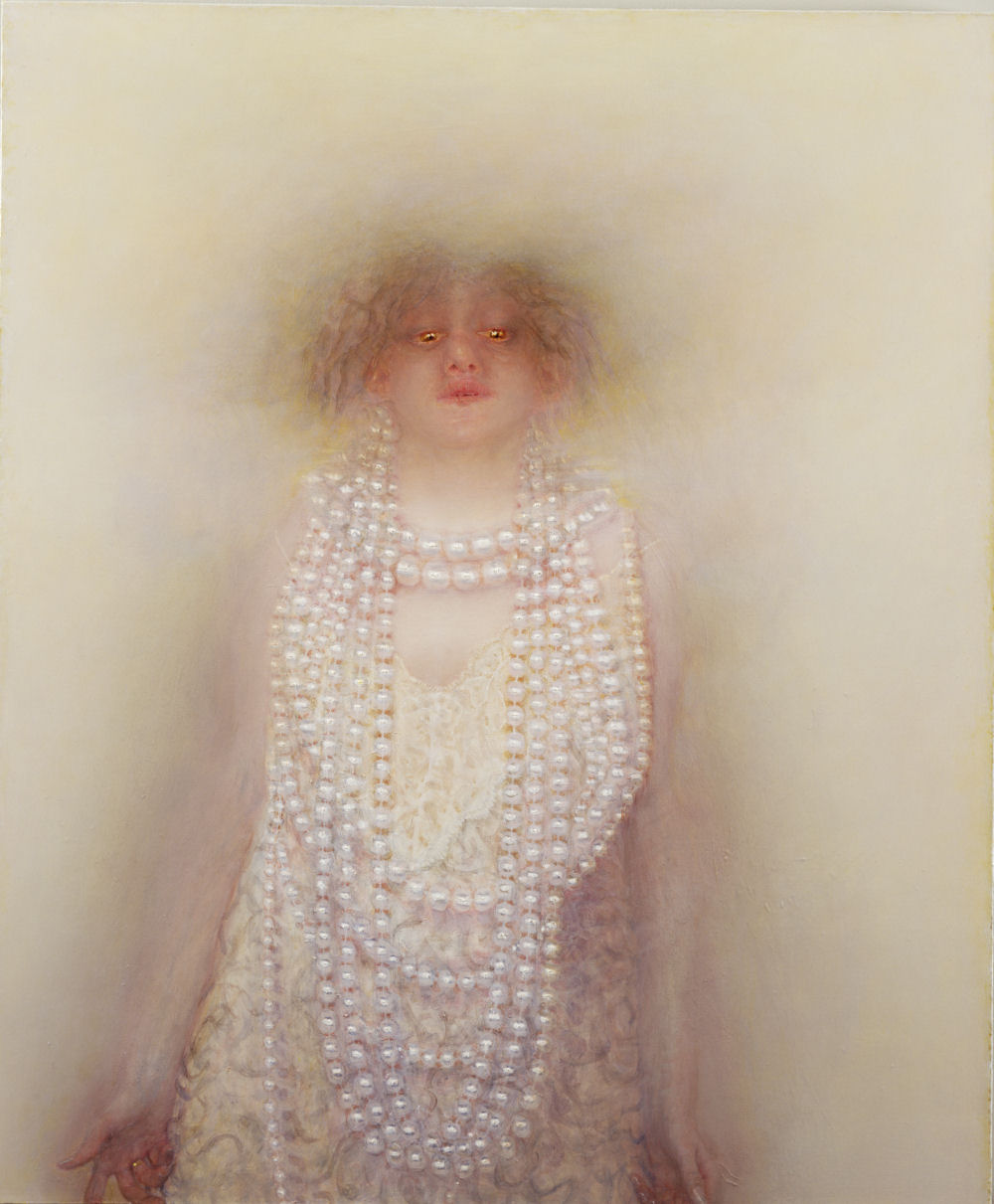 Anne Harris, Portrait (Pearls), oil on canvas, 36 x 30 inches, 1999-2001 (courte