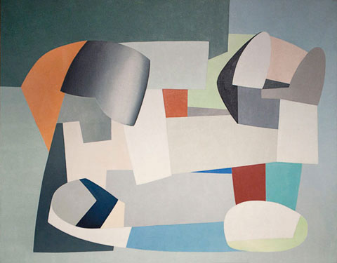 Jean Hélion, Equilibre, 1936, oil on canvas, 44-7/8 x 57-7/8 inches (courtesy of