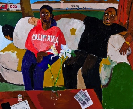 Henry Taylor, Resting, 2011, Acrylic and collage on canvas, 64 x 77 3/4 inches (
