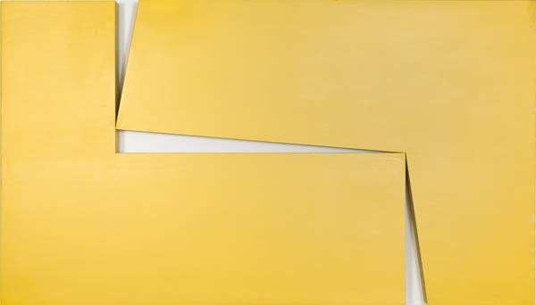 Carmen Herrera, Amarillo Dos, 1971, acrylic on wood, 40 × 70 × 3 1/4 inches (Private collection. © Carmen Herrera)