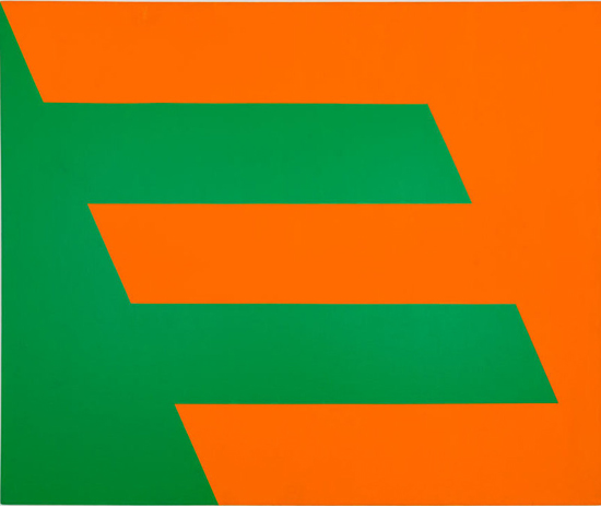 Carmen Herrera, Green and Orange, 1958, acrylic on canvas, 60 × 72 inches (Collection of Paul and Trudy Cejas © Carmen Herrera; photograph by Chi Lam)