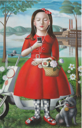 Amy Hill, Girl with Skooter, 2016, oil on canvas, 36 x 24 inches (courtesy of Am
