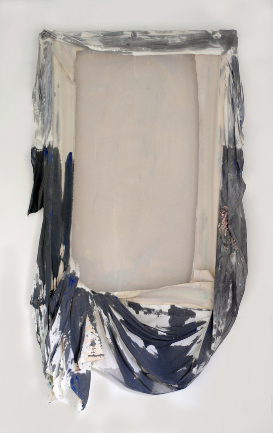 Jane Fox Hipple, holder/held, 2013, acrylic on cotton and canvas, 49 x 29 x 5 in