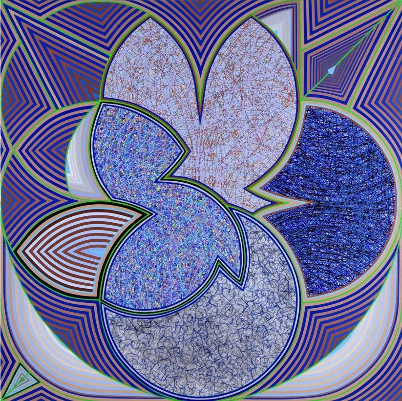 H.J. Bott, Roar Shock Well, 2012, glazed co-polymer vinyls on canvas, 36 x 36 in