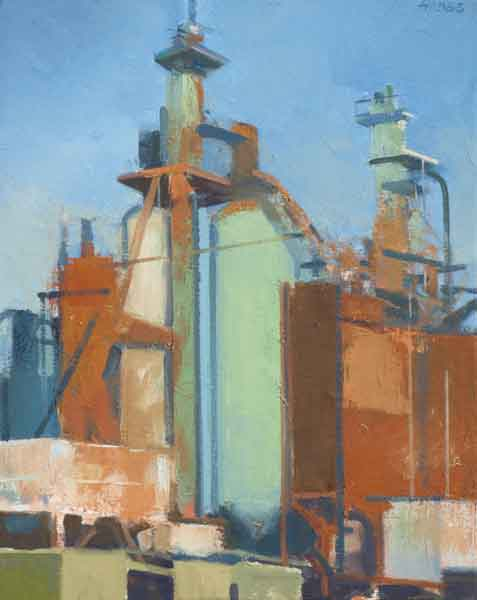 Frank Hobbs, Rust Belt Elegy, South Columbus, oil on canvas, 18 x 14 inches, 201