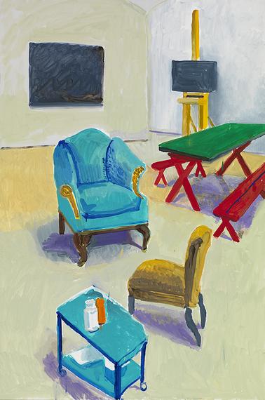 David Hockney, Studio Interior #1, 2014, acrylic on canvas, 72 x 48 inches (© Da
