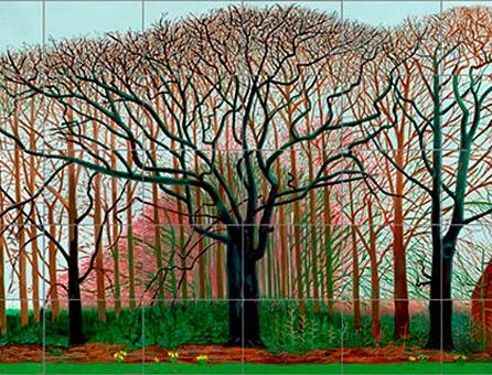 (detail) David Hockney, Bigger Trees near Warter, 2007, oil on canvas, 40′ x 15′