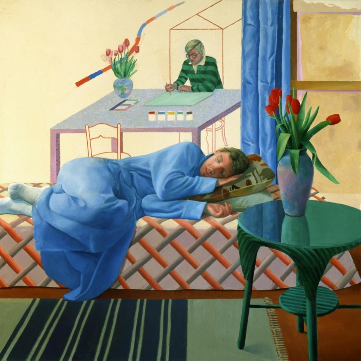 David Hockney, Model with Unfinished Self-Portrait, 1977, oil on canvas, 60 x 60 inches ( Private Collection © David Hockney)