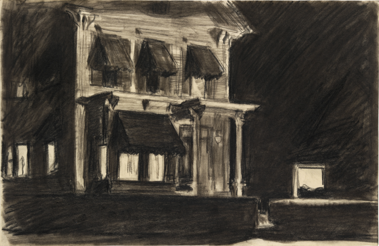 Edward Hopper, Study for Rooms for Tourists, 1945, fabricated chalk and charcoal