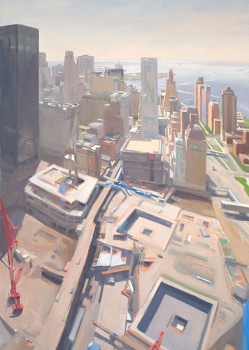 Diana Horowitz, World Trade Center Reflecting Pools and Harbor, 2011, oil on lin
