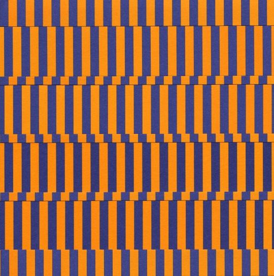 Gilbert Hsiao, Quad Band, 2011, purple and orange cut paper on purple and orange