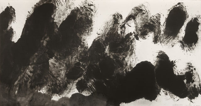 Li Hushing, 0831, 2008, ink on paper, 38 1/8 x 71 inches (courtesy of Mayor Gallery)
