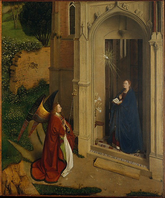 The Annunciation, Attributed to Petrus Christus, ca. 1450, oil on wood  (The Fri