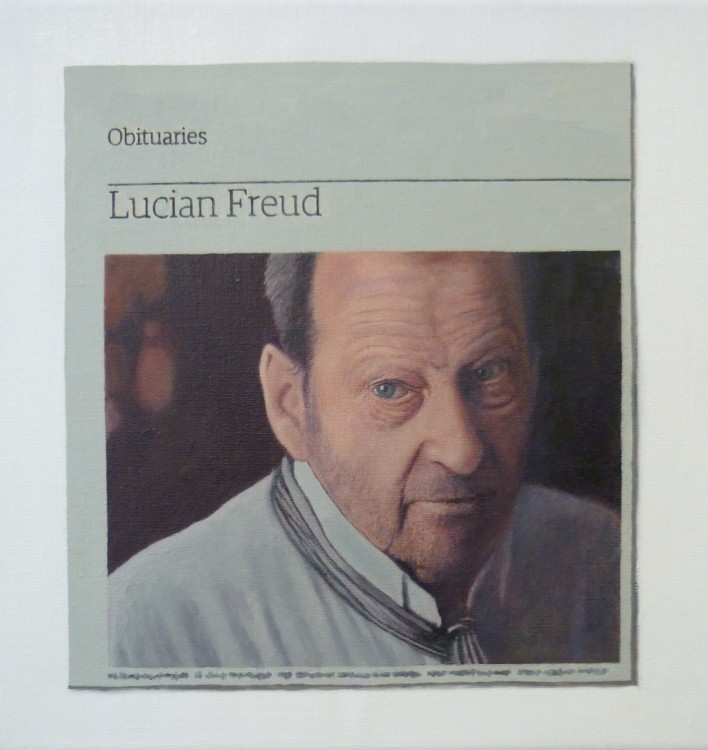 Hugh Mendes, Lucian Freud, 25 x 25cm, 2011 (courtesy Charlie Smith Gallery, Lond