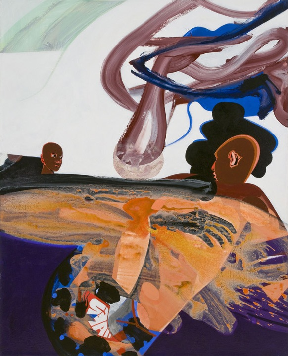 David Humphrey, Wrestlers, 2012, acrylic on canvas, 54 × 44 inches (courtesy Fre