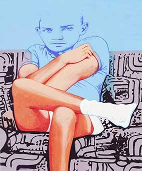 David Humphrey, Posing, 2014, acrylic on canvas, 60 x 72 inches (courtesy of Fre