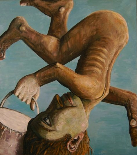 Jon Imber, Upside Down Guy, 1980, oil on canvas, 60 x 56 inches (courtesy of the