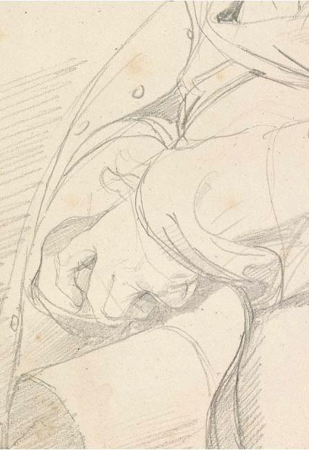(detail) Jean Auguste Dominique Ingres, Portrait of Guillaume Guillon-Lethière,