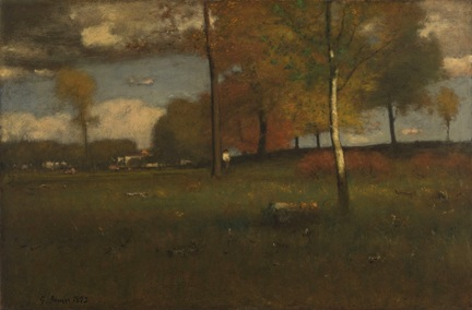 George Inness, Near The Village, October, oil on canvas, 30 x 45 inches, collect