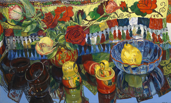 Janet Fish, Russian Dolls, 2009, Oil on canvas, 36 x 60 inches (courtesy of DC M