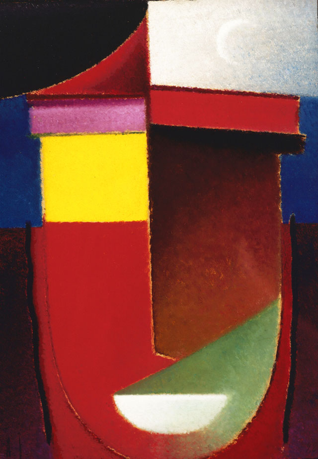 Alexei Jawlensky, Abstract Head: Late Summer (Crescent Moon), 1928, oil on cardboard (Collection of the Long Beach Museum of Art. The Milton Wichner Collection. © 2016 Artists Rights Society (ARS), New York for Alexei Jawlensky)