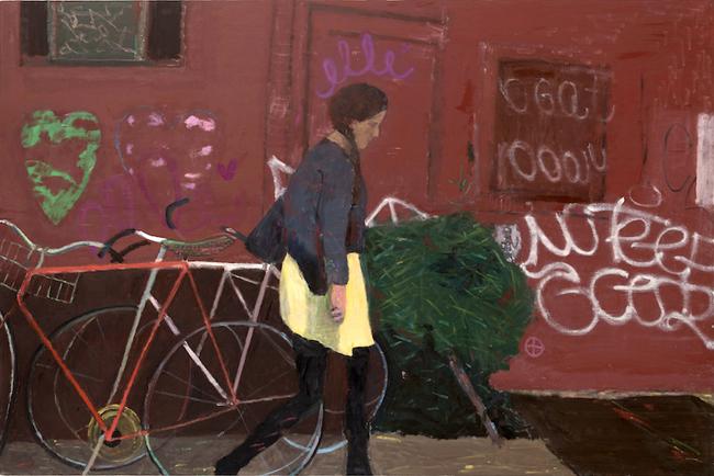 Elisa Jensen, Yellow Skirt, Brooklyn, 2014, oil on linen, 52 x 78 inches (© Elis