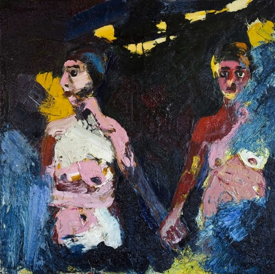 Joan Brown, Girls in the Surf with Moon Casting a Shadow, 1962, Oil, 72 x 72 1/2