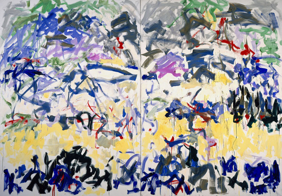 Joan Mitchell, River, 1989, Oil on canvas, Diptych, 110 x 157 1/2 inches (courte