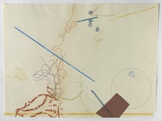 John Cage, Déreau, 1982, #11, from a series of 38 related color etchings with aq