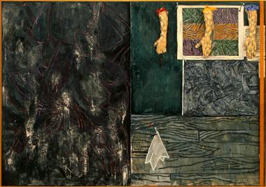 Jasper Johns, Perilous Night, 1982, Encaustic paint, 5′ 7″ x 8′ 0″ x 0′ 6″ (Nati