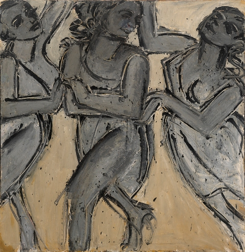 Lester Johnson, Three Graces, Milford, 1966, oil on canvas, 68 x 68inches (court