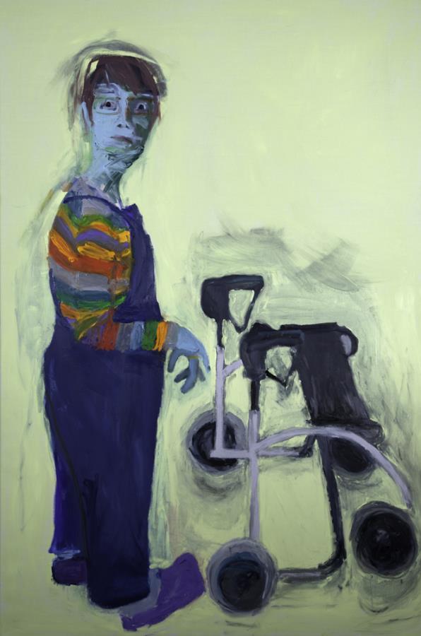 Lucy Jones, Wheelie, 2012, oil on canvas, 71 x 47 1/4 inches (courtesy of Flower