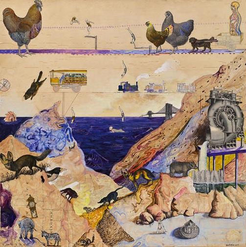 Josh Dorman, Grand Parade, 2011, acrylic and antique maps on panel, 24 x 24 inch