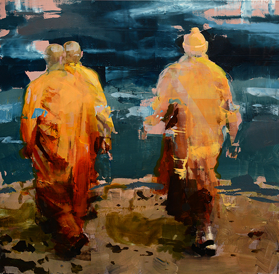 Alex Kanevsky, Monks at Sea, 2015, oil on panel, 18 x 18 inches (courtesy of Dol
