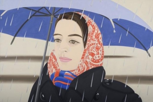 Alex Katz, Blue Umbrella #2, 1972, oil on canvas (courtesy Peter Blum Gallery, N
