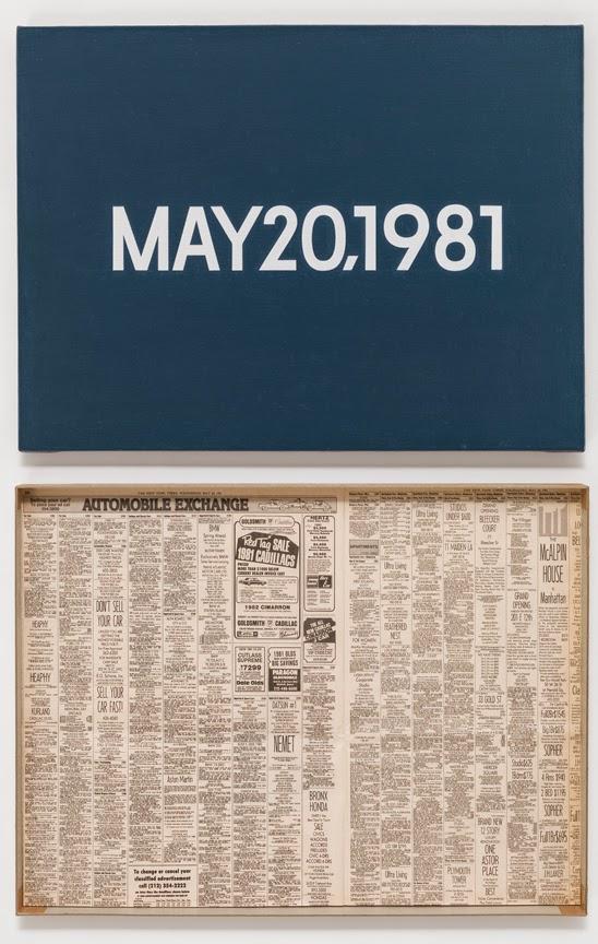"""On Kawara, MAY 20, 1981, """"Wednesday."""" New York, From Today, 1966–2013, acrylic o"""