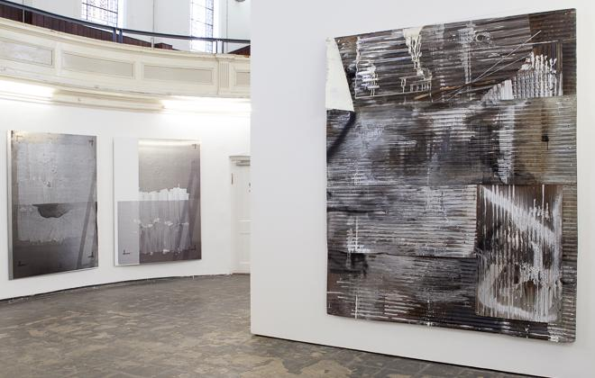 Installation View with works by Rosy Keyser and Nathan Hylden, Painting in the 2