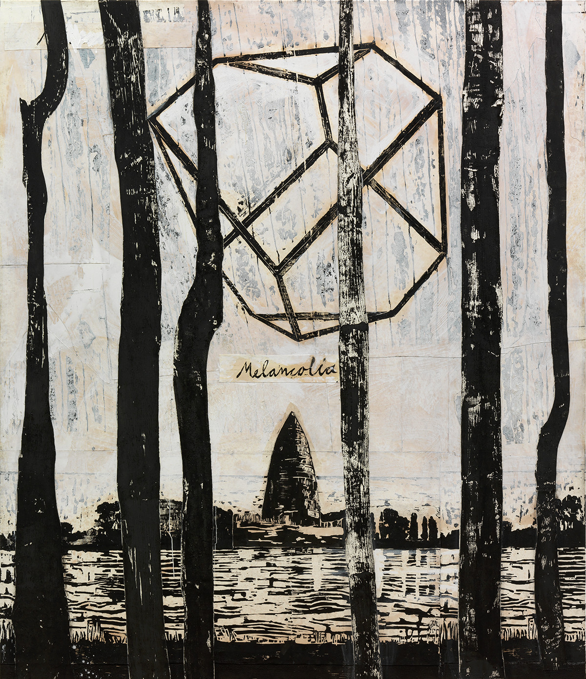 Anselm Kiefer, The Rhine (Melancholia), 1982-2013, collage of woodcut on canvas