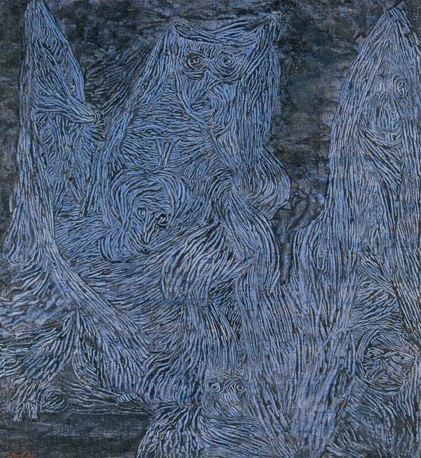 Paul Klee, Walpurgis Night, 1935, gouache on cloth laid on wood, 508 × 470 mm (T