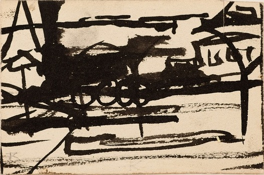 Franz Kline, Untitled-Locomotive, ca. 1945–47, ink, double sided, on 2-ply illus