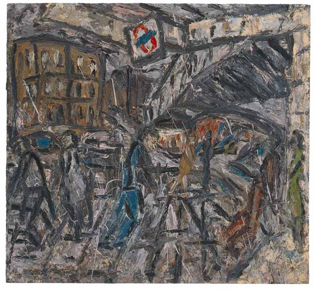 Leon Kossoff, Outside Kilburn Underground Station, 1984, oil on board, 77 1/2 x