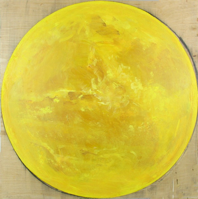 Ben La Rocco, Yellow Earth, 2013, oil and charcoal on wood, 24 3/4 x 24 3/4 inch