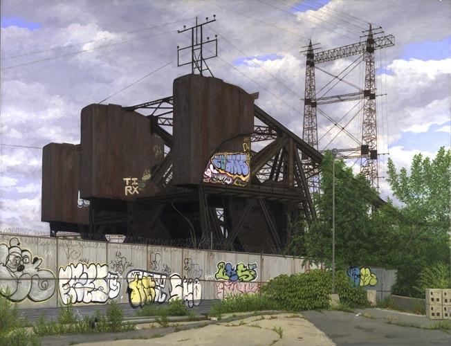 Valeri Larko, Bronx Drawbridge Oil on Linen 40 x 52 inches (courtesy  J. Cacciol
