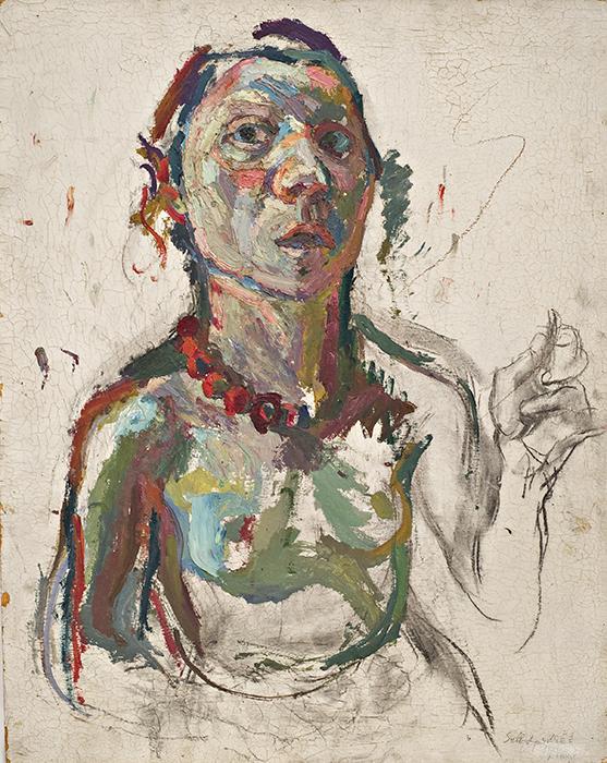 Maria Lassnig, Selbstporträt expressiv, 1945, oil on canvas (courtesy the artist