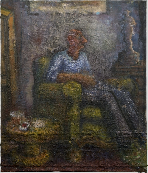 John Lees, Man Sitting in an  Armchair, 2008-2015, oil on canvas, 42 x 36 inches