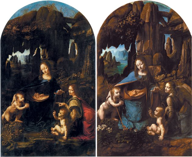 Leonardo da Vinci, Virgin of the Rocks, Two versions (left) 1483–1490, collectio
