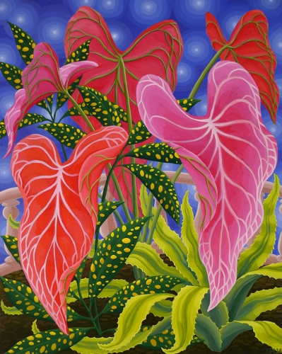 Amy Lincoln, Pink Caladium, 2016, acrylic on panel, 20 x 16 inches (courtesy of