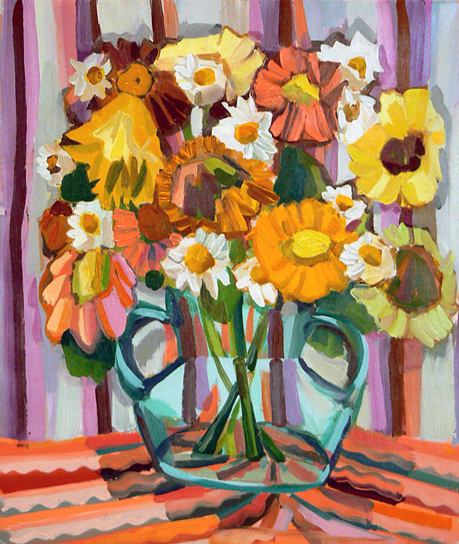 Judith Linhares, Pink and Yellow Daises, 2006, 26 x 22 inches, oil on linen (cou