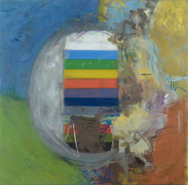 Stuart Lorimer, Bright Band, 2014, oil on canvas, 62.5 x 63.5 inches (courtesy o